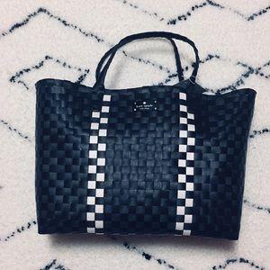 Kate Spade Black & White basket weave tote NWT